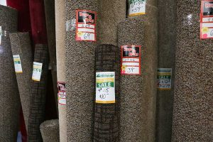 Carpet rolls on sale at Di's Floor Centre in Springfield, Oregon