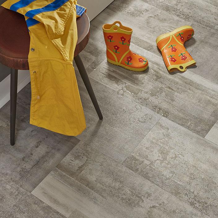 Mannington Water Resistant Luxury Vinyl Tile Imitating Stone In An Entryway