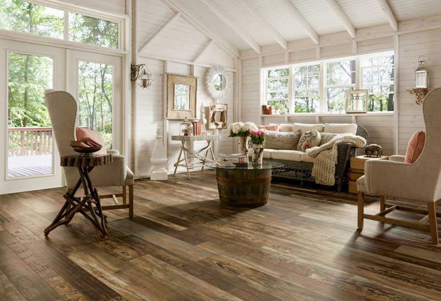 Hardwood Look Laminate Installed In A Rustic Farmhouse Style Living Room